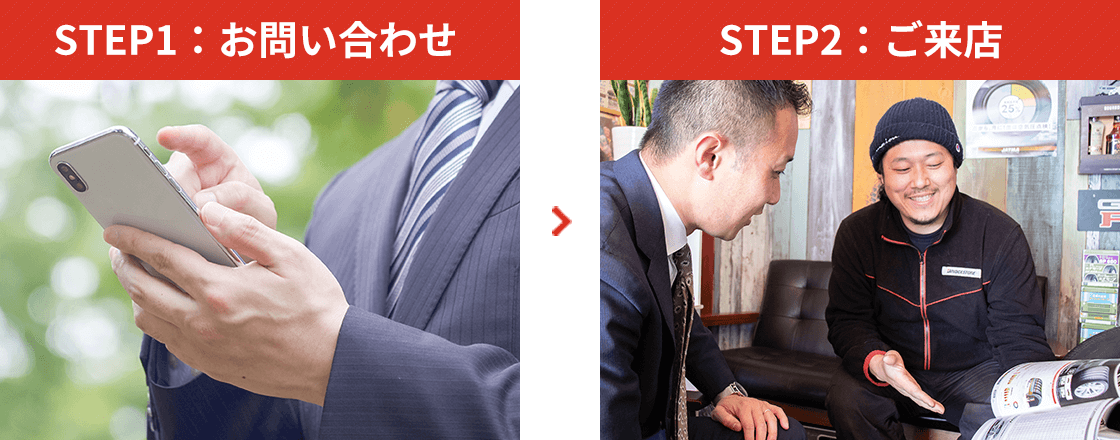 STEP1:お問い合わせ STEP2:ご来店
